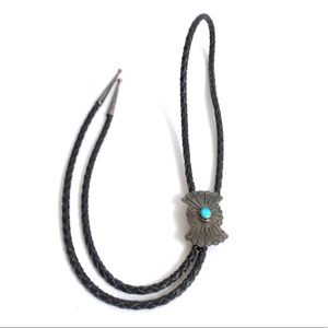 Vintage Southwest Turquoise Bolo Tie Old Pawn